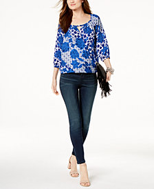 I.N.C. Printed Surplice Keyhole Peasant Top & Stretch Skinny Jeans, Created for Macy's