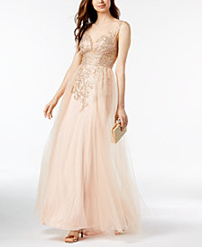 Xscape Sparkle Embroidered Mesh Gown