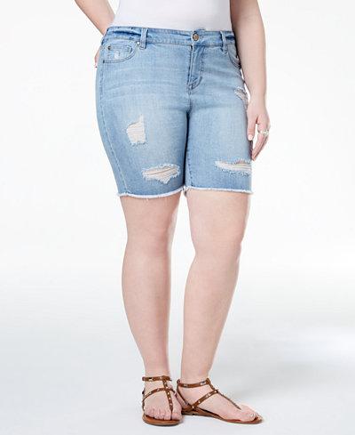 Celebrity Pink Plus Size Distressed Raw-Hem Denim Shorts