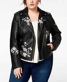 Plus Size Embroidered Faux-Leather Moto Jacket