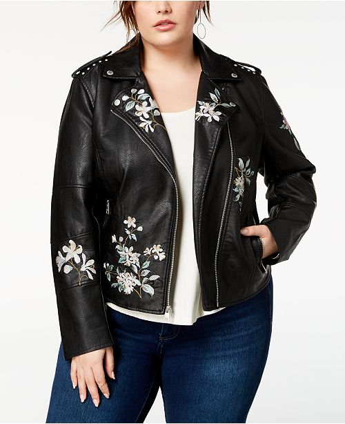 233659b6c Levi's Plus Size Embroidered Faux-Leather Moto Jacket & Reviews ...