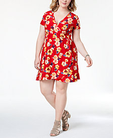 Planet Gold Trendy Plus Size Printed Faux-Wrap Dress