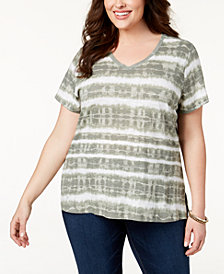 Style & Co Plus Size Cotton Tie-Dyed T-Shirt, Created for Macy's