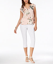 Thalia Sodi Printed Zipper-Detail Top & Slit-Seam Pants, Created for Macy's