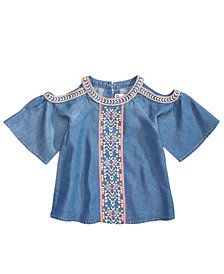 Epic Threads Embroidered Cold Shoulder Denim Top, Toddler Girls, Created for Macy's