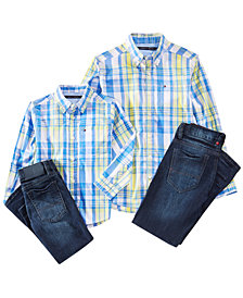 Tommy Hilfiger Plaid Shirt & Jeans Separates, Toddler & Little Boys