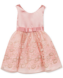 Rare Editions Little Girls  Satin & Embroidery Dress