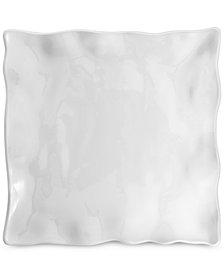 Q Squared Small White Ruffle Melamine Square Platter