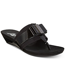 Anne Klein Sport Imperial Thong Wedge Sandals, Created for Macy's