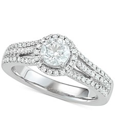 Diamond Halo Engagement Ring (1 ct. t.w.) in 18k White Gold