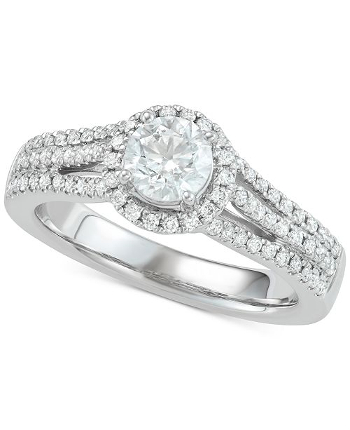 Marchesa Diamond Halo Engagement Ring (1 ct. t.w.) in 18k White Gold