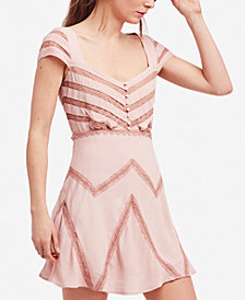Free People Elle Lace Shadow-Stripe Mini Dress