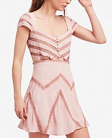 Free People Elle Lace Shadow-Stripe Mini Dress