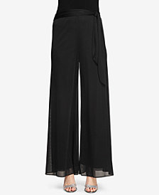 Alex Evenings Petite Sash-Belt Wide-Leg Pants