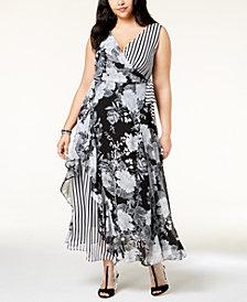 I.N.C. Plus Size Mixed-Print Maxi Dress, Created for Macy's