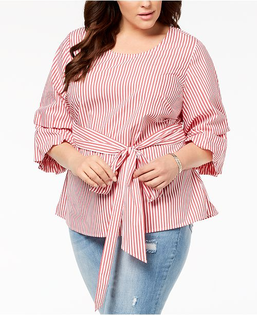 93cdcaf74bb6a ... INC International Concepts I.N.C. Plus Size Striped Tucked-Sleeve Shirt