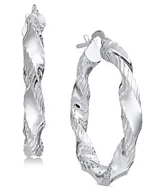 Giani Bernini Small Textured Twist Hoop Earrings, Created for Macy's