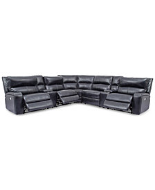 Brant 7-Pc. Leather Sectional Sofa With 3 Power Recliners, Power Headrests, 2 Consoles And USB Power Outlet
