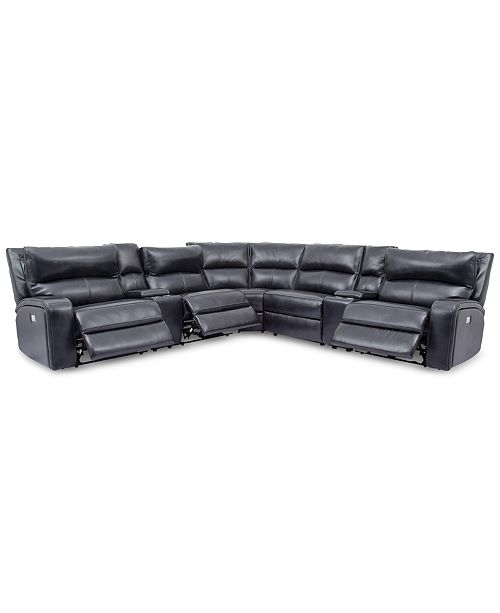 Fine Furniture Brant 7 Pc Leather Sectional Sofa With 3 Power Machost Co Dining Chair Design Ideas Machostcouk