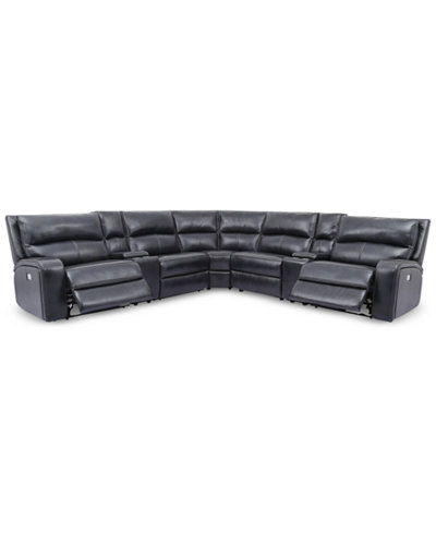 Brant 7-Pc. Leather Sectional Sofa With 2 Power Recliners, Power Headrests, 2 Consoles And USB Power Outlet