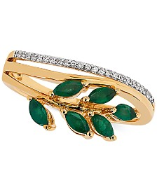 Emerald (1/2 ct. t.w.) & Diamond Accent Statement Ring in 14k Gold