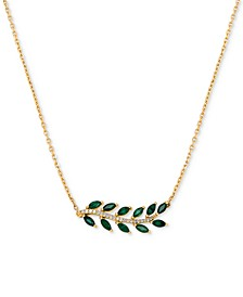 "Emerald (3/4 ct. t.w.) & Diamond Accent 18"" Statement Necklace in 14k Gold"