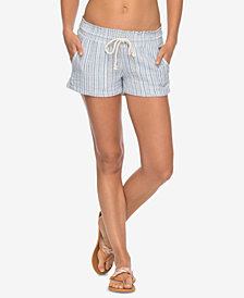 Roxy Juniors' Oceanside Cotton Striped Drawstring Shorts