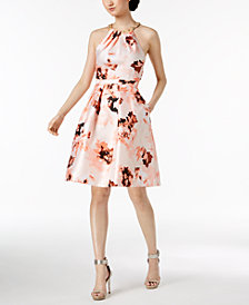Calvin Klein Floral-Print Beaded Halter Dress