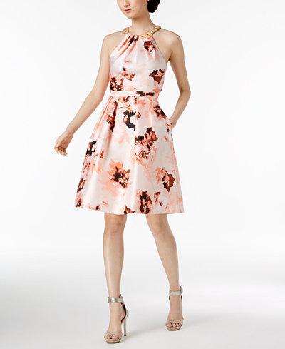 Calvin Klein Floral-Print Beaded Halter Dress