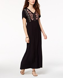 Style & Co Petite Embroidered Maxi Dress, Created for Macy's