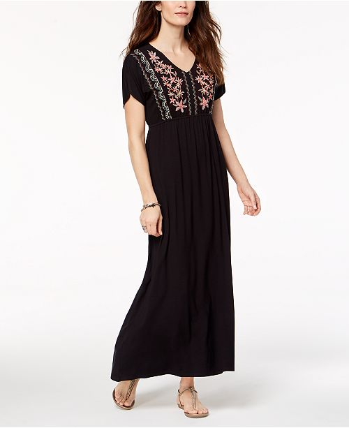 Style Co Petite Embroidered Maxi Dress Created For Macys