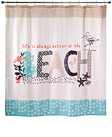 "Avanti Beach Life 72"" x 72"" Graphic-Print Shower Curtain"