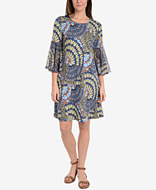 NY Collection Printed Bell-Sleeve Dress