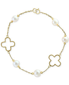 Pearl by EFFY® White Cultured Freshwater Pearl (6mm) Flower Bracelet in 14k Gold