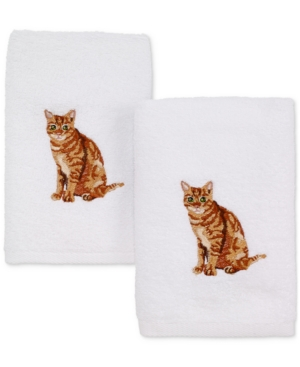 Avanti Cotton 2Pc Tabby Cat Embroidered Hand Towel Set Bedding