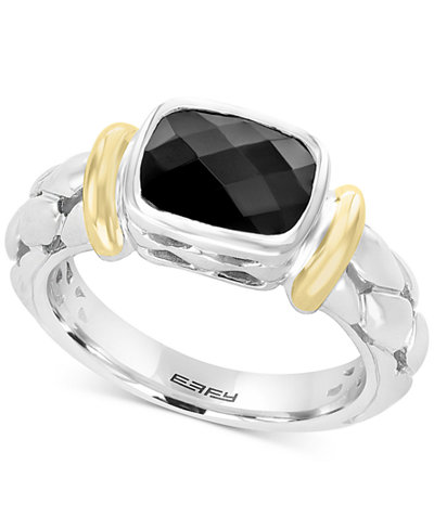 Balissima by EFFY® Onyx (9 x 7mm) Two-Tone Ring in Sterling Silver & 18k Gold