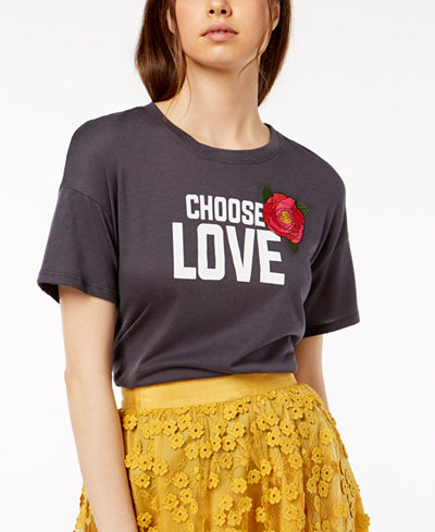Carbon Copy Choose Love Embroidered T-Shirt