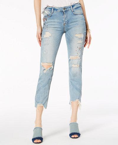 Buffalo David Bitton Embellished Ripped Skinny Ankle Jeans