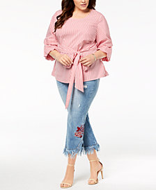 I.N.C. Plus Size Striped Tucked-Sleeve Shirt & Embroidered Jeans, Created for Macy's