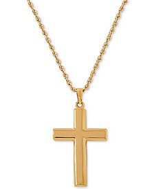 "Polished Cross 20"" Pendant Necklace in 14k Gold"