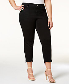 I.N.C. Plus Size Step-Hem Cropped Jeans, Created for Macy's