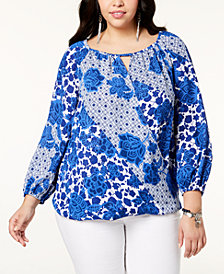 I.N.C. Plus Size Printed Surplice Keyhole Top, Created for Macy's