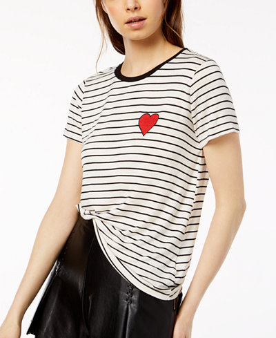Carbon Copy Striped Embroidered T-Shirt