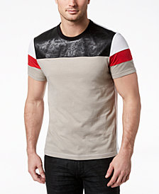 I.N.C. Men's Faux Leather Colorblocked T-Shirt, Created for Macy's