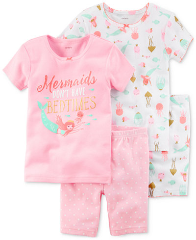 Carter's 4-Pc. Mermaid Printed Cotton Pajamas Set, Baby Girls
