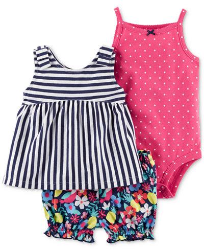 Carter's 3-Pc. Striped Cotton Tunic, Bodysuit & Shorts Set, Baby Girls