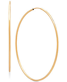 Polished Continuous Hoop Earrings in 14k Gold