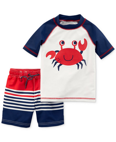 Carter's 2-Pc. Crab-Print Swimsuit, Baby Boys