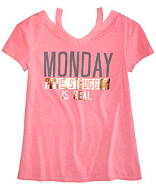 Kandy Kiss Graphic-Print Slit-Shoulder T-Shirt, Big Girls