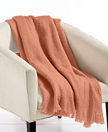 "LAST ACT! Lacourte Mohair Coral 50"" x 60"" Throw, Created for Macy's"
